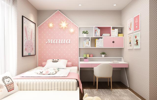 Phòng ngủ của con gái với màu sắc nữ tính.
