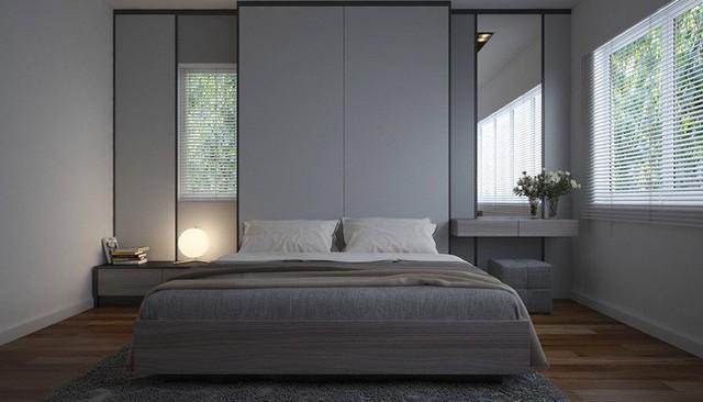 Phòng ngủ bố mẹ với gam màu nhã nhặn.
