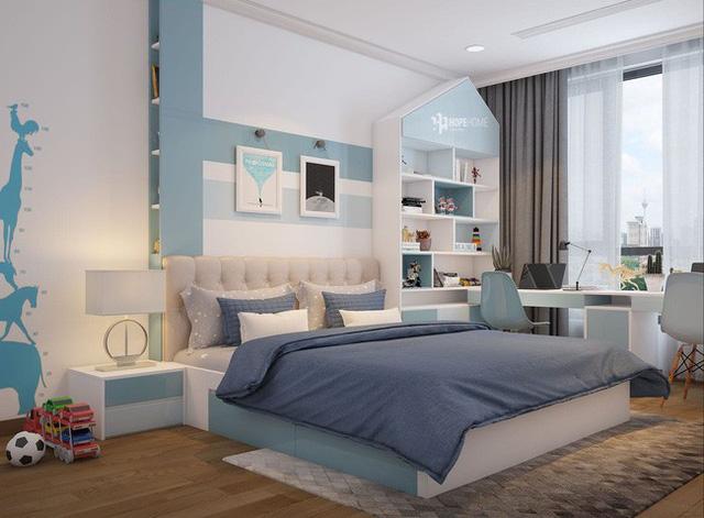 Phòng ngủ con trai với gam màu xanh hiện đại.