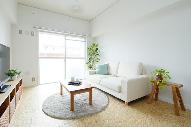 Màu trắng của trần và tường giúp mở rộng diện tích. Sofa màu be giúp kết nói màu gỗ của kệ đừng đồ, màu đất của sàn và màu ghi của thảm trải sàn. Chút nhấn nhá từ những cây cảnh tự nhiên cho góc nhỏ thêm yên bình và trong lành.