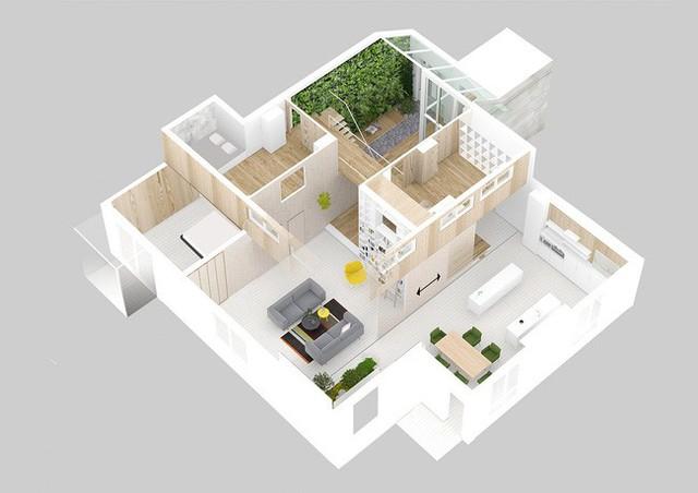 Toàn bộ không gian căn hộ được tái hiện trên bản vẽ 3D.