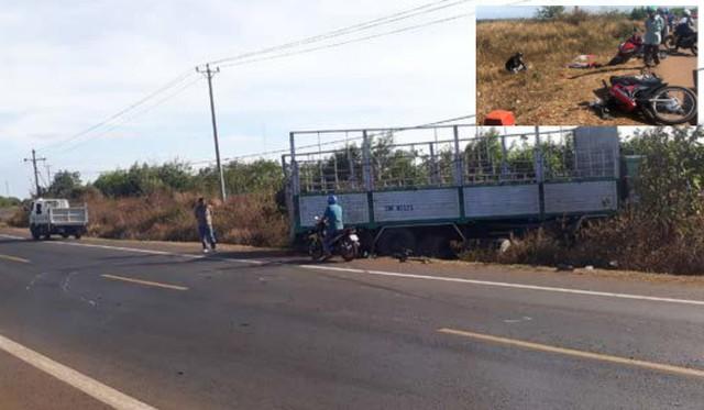 Hiện trường xe tải gãy trục quay ngang đường tông xe máy khiến 3 chị em tử vong