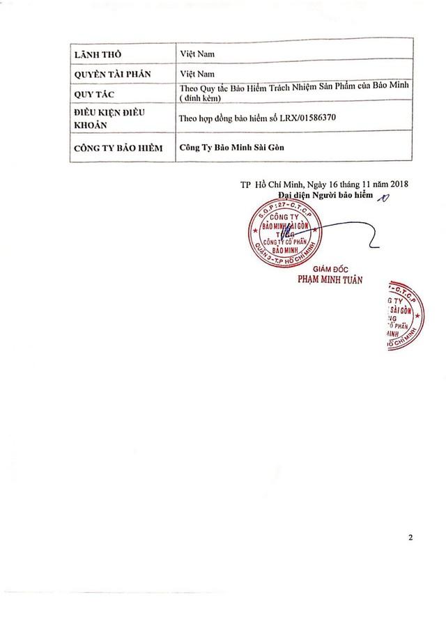 Chứng nhận Bảo hiểm 1 triệu USD cho thực phẩm bảo vệ sức khỏe Golean Detox được ký kết giữa Công ty Mat Xi và Công ty Bảo Minh