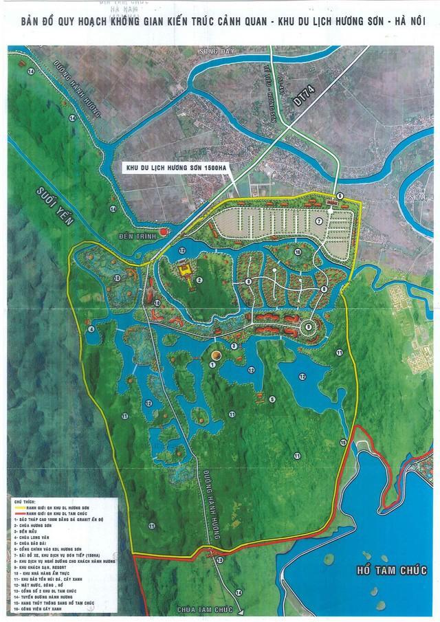 Bản đồ quy hoạch không gian kiến trúc Khu du lịch tâm linh Hương Sơn do doanh nghiệp Xuân Trường đề xuất
