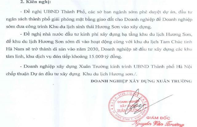 Văn bản đề nghị Nhà nước bỏ tiền đầu tư hạ tầng, giải phóng mặt bằng bàn giao cho DN làm khu tâm linh, dịch vụ do ông Nguyễn Văn Trường ký