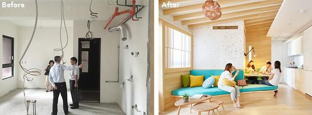 Không gian trước và sau khi cải tạo.