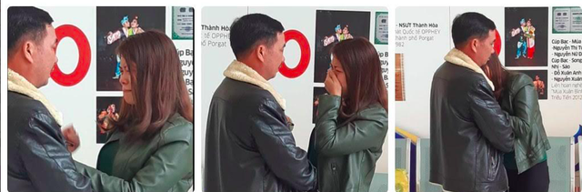 Khoảnh khắc xúc động khi chị Hằng lần đầu gặp trực tiếp người được nhận tim từ chồng mình.Ảnh: Hoàng Thương