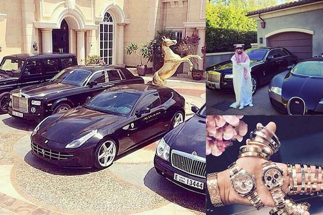 Bộ sưu tập xe hơi thuộc những dòng xe đắt nhất thế giới như Roll royce, Bently, Ferrari và đồng hồ phiên bản giới hạn của một công tử ở Dubai.