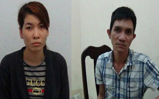 Lưu Văn Cháng (bên phải) và Trần Thị Hoài Hận tại cơ quan điều tra.