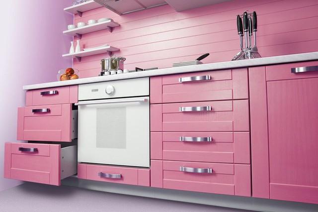Căn bếp màu hồng xinh xắn, đáng yêu.