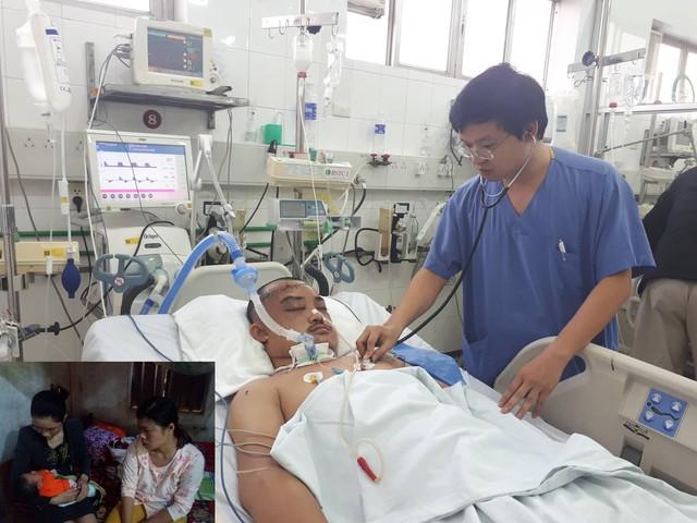 BS Sỹ đang kiểm tra tình trạng sức khỏe cho anh Thương. Chị Nga vừa mới sinh (ảnh nhỏ). Ảnh: PT