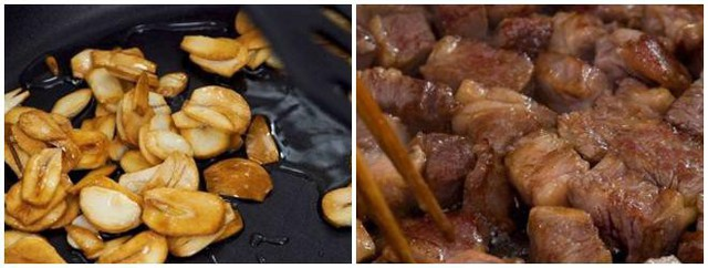 - Sau đó cho tỏi vào, đảo đều một lát rồi tắt bếp. Thưởng thức món thịt bò cháy tỏi với cơm nóng!