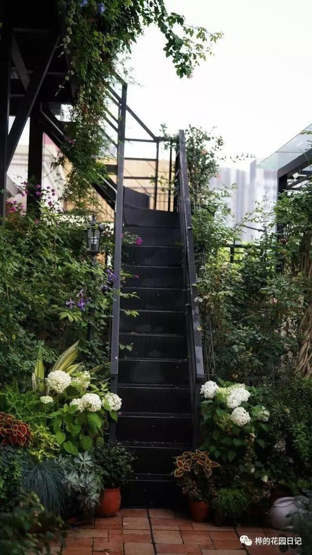 Cầu thang lên tầng 2 của sân thượng.
