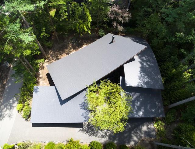 Các phòng chức năng kết hợp với nhau tạo ra một dinh thự với ba khối kiến trúc liền kề, nằm giữa những cây trồng đã tồn tại sẵn.