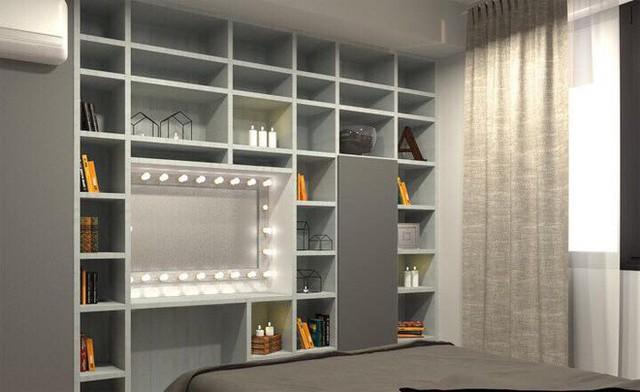 Hệ tủ với nhiều ngăn nhỏ đều lưu trữ sách, đồ lưu niệm của cô trong các chuyên lưu diễn, khi đi du lịch.