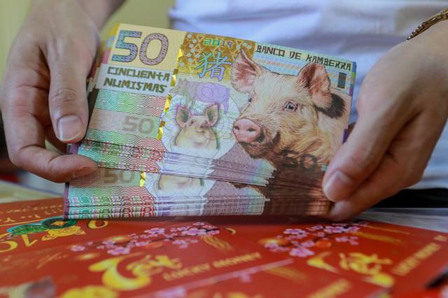 Mỗi tờ tiền 50 Kamberra của Australia có giá bán là 100.000 đồng. Theo chủ cửa hàng, năm nay có bảy loại tiền in hình con heo, chủ yếu xuất xứ từ Mỹ, Australia và Trung Quốc.
