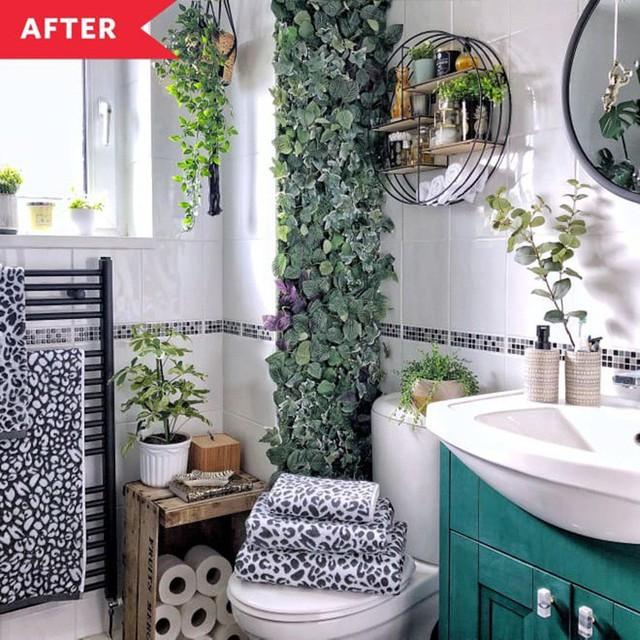 Phòng tắm đơn điệu màu trắng đẹp lung linh trong phút chốc khi decor với cây xanh - Ảnh 4.