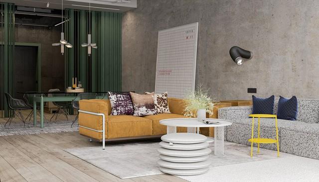 Căn hộ đầy màu sắc mang đậm phong cách công nghiệp, phòng khách có tận 2 chiếc bàn trà vẫn đẹp lung linh - Ảnh 1.
