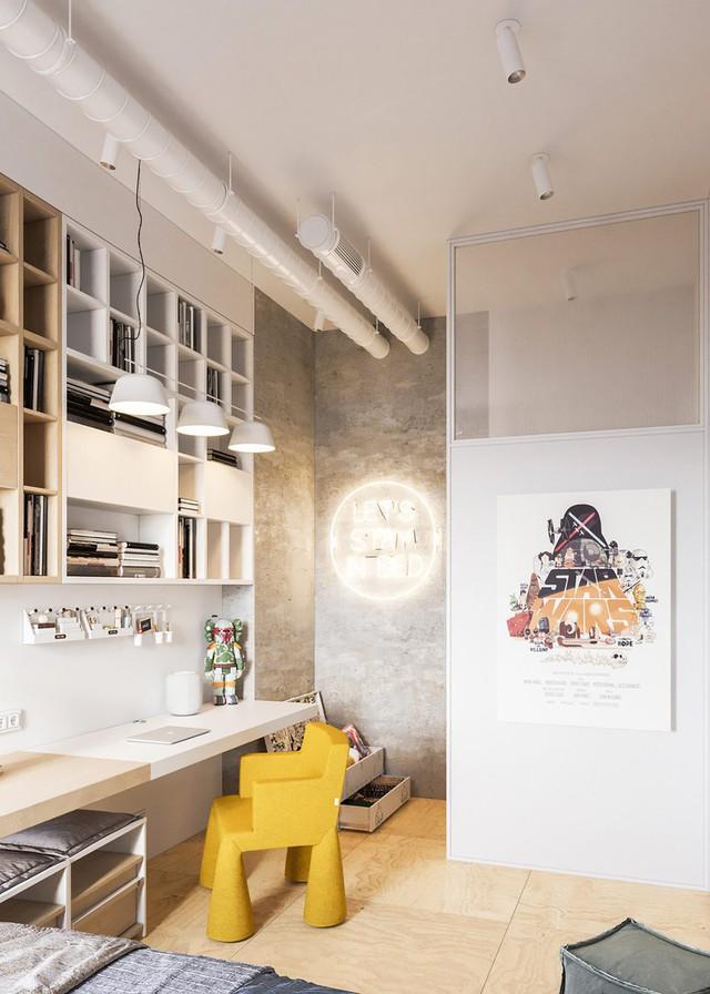 Căn hộ đầy màu sắc mang đậm phong cách công nghiệp, phòng khách có tận 2 chiếc bàn trà vẫn đẹp lung linh - Ảnh 7.