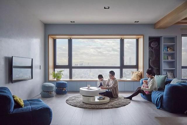 Căn hộ màu xanh đậm có cách sắp đặt nội thất khoa học tuyệt vời - Ảnh 1.