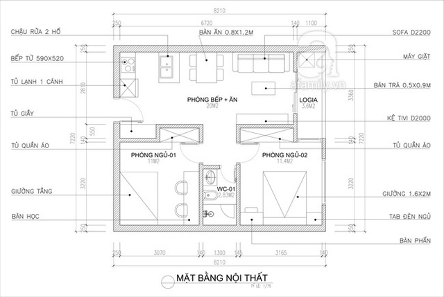 Tư vấn thiết kế căn hộ tập thể 52m² với chi phí 140 triệu đồng - Ảnh 1.