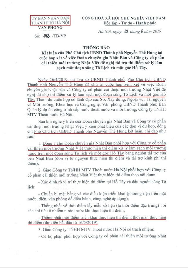 Chủ tịch UBND TP Hà Nội nói gì về phát ngôn thí điểm sông Tô Lịch chưa xin phép? - Ảnh 2.