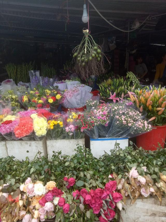 Cùng với chuối xanh, các tiểu thương cũng bày bán rất nhiều mặt hàng phục vụ nhu cầu sắm tết, trang trí nhà cửa của người dân như hoa tươi, cau cúng... Ảnh: Thiên Hương