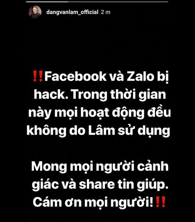 Đặng Văn Lâm thông báo việc Facebook và Zalo bị chiếm quyền sử dụng trên Instagram.