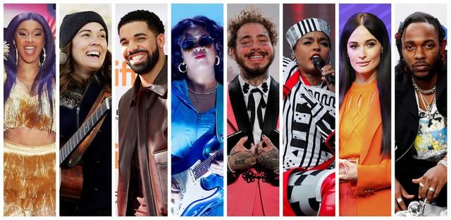 Dàn nghệ sĩ có album được đề cử Album của năm: Cardi B, Brandi Carlile, Drake, H.E.R., Post Malone, Janelle Monáe, Kacey Musgraves và Kendrick Lamar. Ảnh: Reuters.