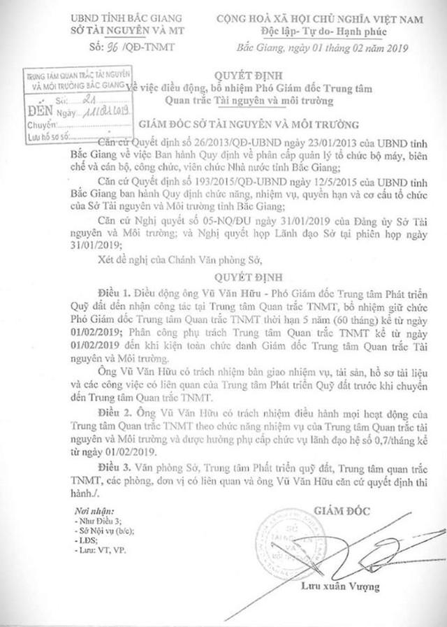 Quyết định số 96/QĐ-TNMT về việc điều động, bổ nhiệm ông Vũ Văn Hữu