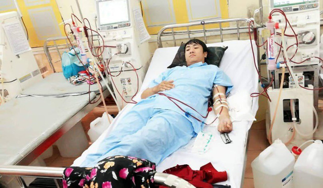 Anh Tuyến hiện chạy thận tuần 3 lần ở bệnh viện quân y 5 tỉnh Ninh Bình