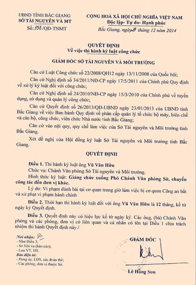 Quyết định số 358/QĐ-TNMT về việc thi hành kỷ luật ông Vũ Văn Hữu về hành vi đánh bạc tại trụ sở cơ quan trong giờ làm việc