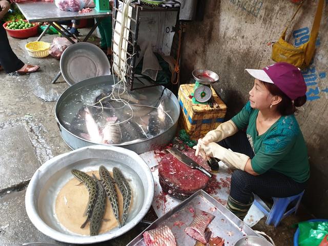 Quầy bán cá tươi của bà An luôn được khách tìm đến sau Tết Nguyên đán.