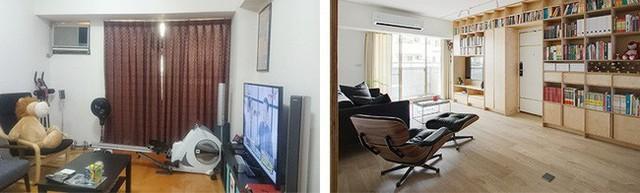 Phòng khách trước và sau khi cải tạo.