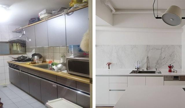 Phòng bếp thay đổi bất ngờ, thoáng sáng và hiện đại hơn sau khi cải tạo.