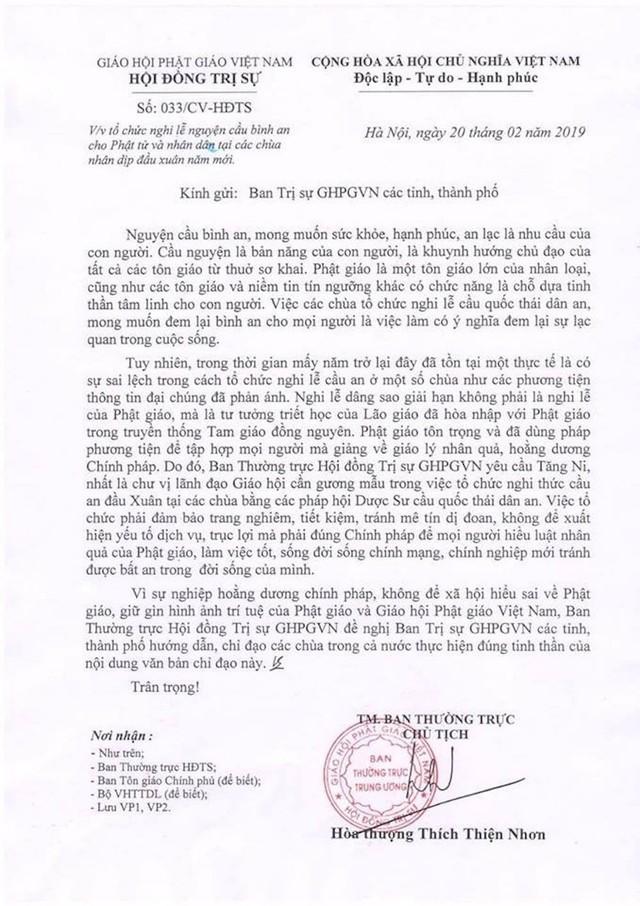 Văn bản Giáo hội Phật giáo gửi Ban trị sự Giáo hội Phật giáo Việt Nam các tỉnh, thành phố.