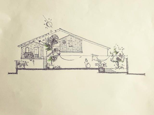 """Với ý tưởng nhà tiệc"""", kiến trúc sư quyết định thiết kế một ngôi nhà kiểu nhà dài của Tây Nguyên. Vì không có khoảng vườn rộng nên hai bungalow được treo lên khoảng không."""