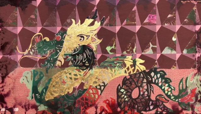 Hình tượng con Rồng được thể hiện trên tranh của họa sĩ Vũ Thế Hùng