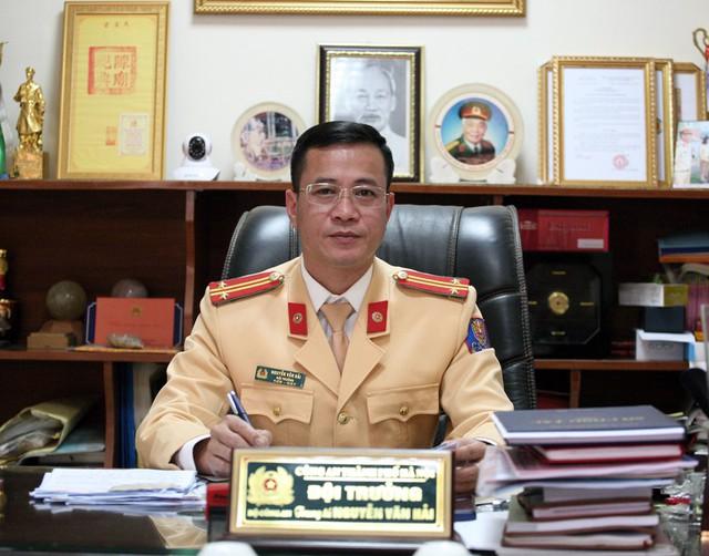 Trung tá Nguyễn Văn Hải - Đội trưởng Đội tuần tra dẫn đoàn - Công an TP. Hà Nội.