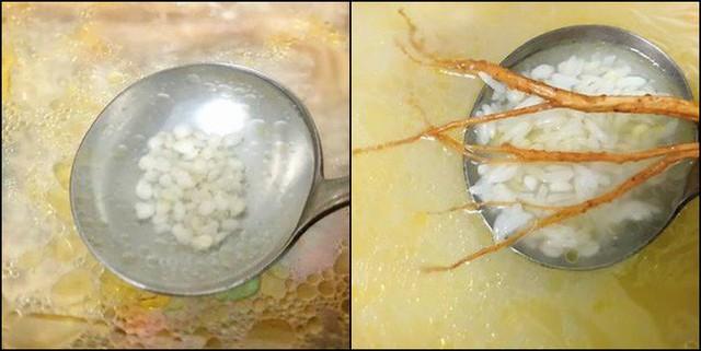 Lúc này cho vi cá vào, nấu thêm tầm 10 phút rồi nêm muối, tiêu, gừng (tùy thích) cho vừa khẩu vị nha! Khi ăn cho gà xé sợi vào tô rồi múc cháo vào, nêm thêm tiêu, ngò hoặc thêm 1-2 giọt dầu mè, dùng nóng.