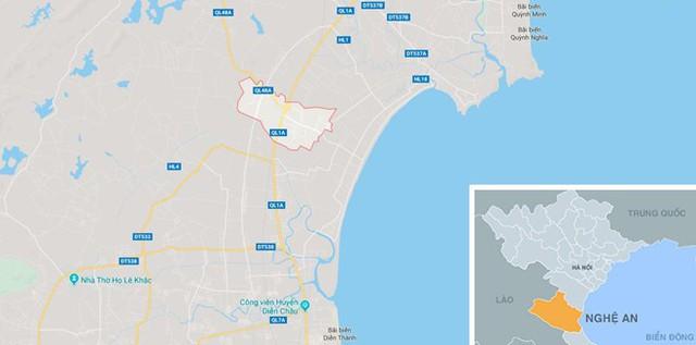 Xã Diễn Yên, nơi xảy ra vụ cháy. Ảnh: Google Maps.