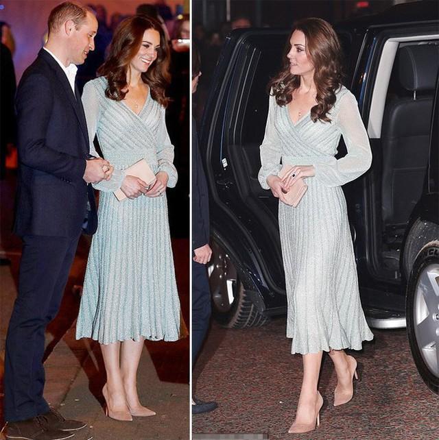 Công nương Kate xinh đẹp trong bộ váy xanh ánh kim.