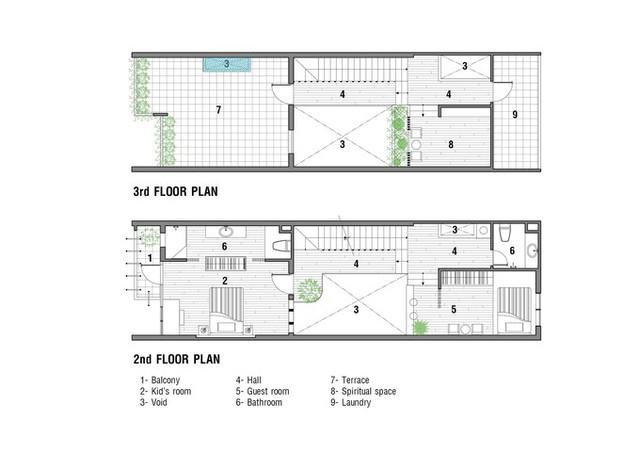 Bản vẽ mặt bằng tầng 2 và 3.