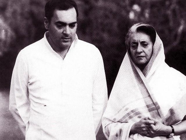 Indira Gandhi và con trai Rajiv