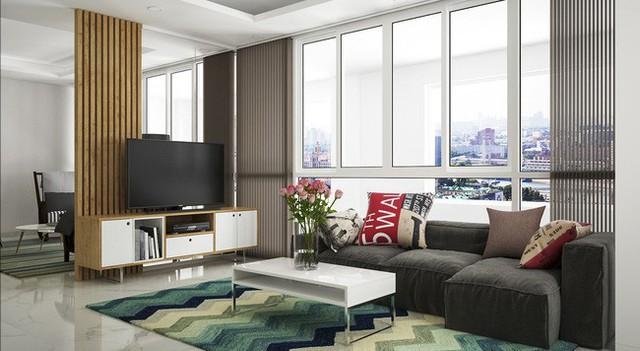 Phòng khách được thiết kế theo phong cách hiện đại.