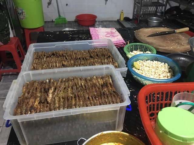 Cá còm sau khi được rán vàng, được đưa vào khay cho cá ráo mỡ. Ảnh: Cảnh Thắng