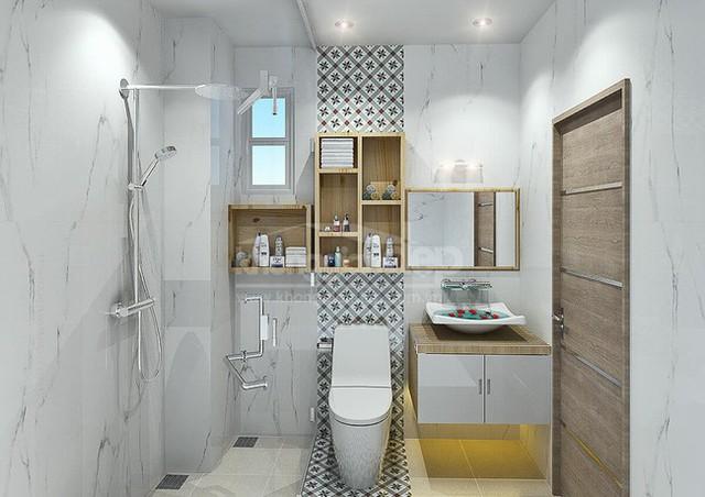 Phòng vệ sinh với màu sắc trẻ trung.