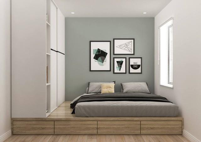 Phòng ngủ được tiết kiệm diện tích bằng hệ giường phản và tủ quần áo.