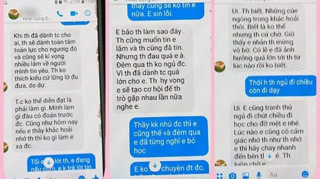 Đoạn tin nhắn tố thầy giáo gạ tình nữ sinh ở Thái Bình. Ảnh: TL
