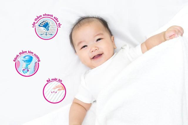 Tính năng thấm hút tốt của tã sẽ đảm bảo các chất tiêu bẩn được thấm hút và bé không bị ướt tã, giúp tránh tình trạng hăm tã xảy ra.